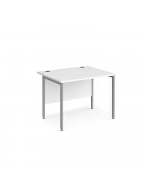 Maestro 25 straight desk 1000mm x 800mm - silver H-frame leg, white top