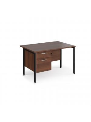 Maestro 25 straight desk 1200mm x 800mm with 2 drawer pedestal - black H-frame leg, walnut top