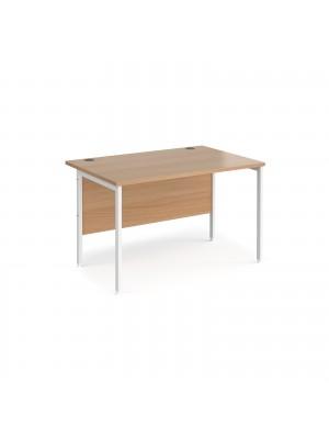 Maestro 25 straight desk 1200mm x 800mm - white H-frame leg, beech top