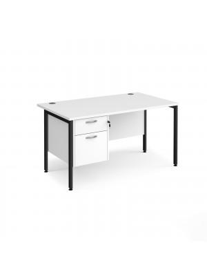 Maestro 25 straight desk 1400mm x 800mm with 2 drawer pedestal - black H-frame leg, white top
