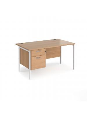 Maestro 25 straight desk 1400mm x 800mm with 2 drawer pedestal - white H-frame leg, beech top