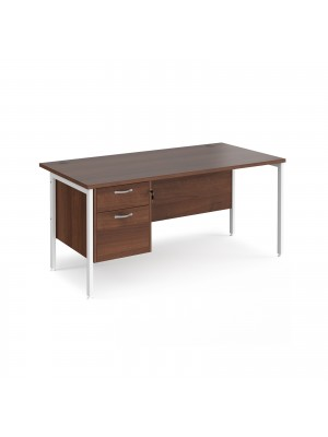 Maestro 25 straight desk 1600mm x 800mm with 2 drawer pedestal - white H-frame leg, walnut top