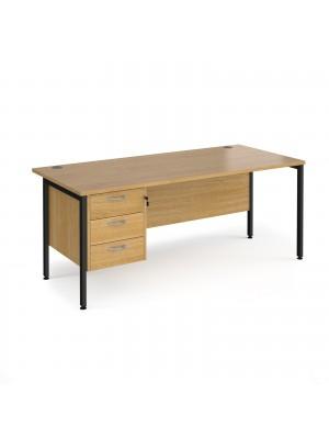 Maestro 25 straight desk 1800mm x 800mm with 3 drawer pedestal - black H-frame leg, oak top