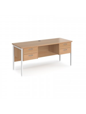 Maestro 25 straight desk 1600mm x 600mm with two x 2 drawer pedestals - white H-frame leg, beech top