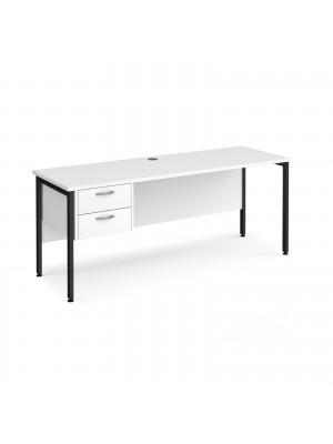 Maestro 25 straight desk 1800mm x 600mm with 2 drawer pedestal - black H-frame leg, white top
