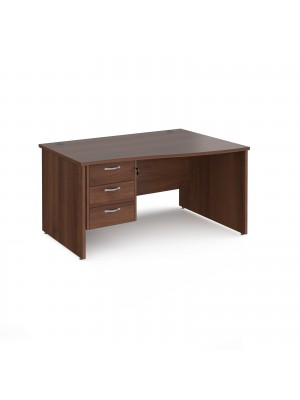 Maestro 25 right hand wave desk 1400mm wide with 3 drawer pedestal - walnut top with panel end leg