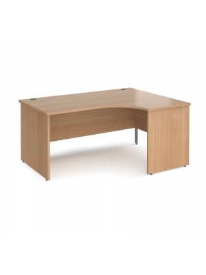 Maestro 25 right hand ergonomic desk 1600mm wide - beech top with panel end leg