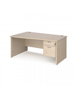 Maestro 25 left hand wave desk 1600mm wide with 2 drawer pedestal - maple top with panel end leg