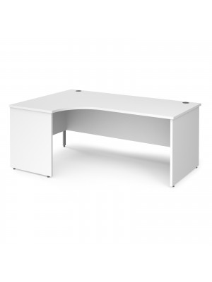 Maestro 25 left hand ergonomic desk 1800mm wide - white top with panel end leg