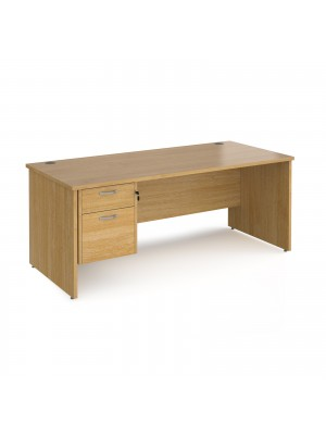 Maestro 25 straight desk 1800mm x 800mm with 2 drawer pedestal - oak top with panel end leg