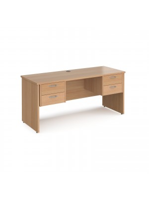 Maestro 25 straight desk 1600mm x 600mm with two x 2 drawer pedestals - beech top with panel end leg