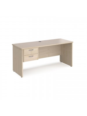 Maestro 25 straight desk 1600mm x 600mm with 2 drawer pedestal - maple top with panel end leg