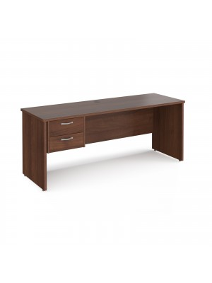 Maestro 25 straight desk 1800mm x 600mm with 2 drawer pedestal - walnut top with panel end leg