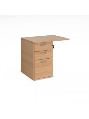 Desk high 3 drawer pedestal 800mm deep with 800mm flyover top - beech