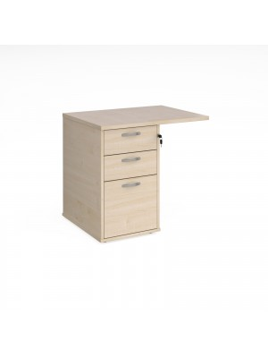Desk high 3 drawer pedestal 800mm deep with 800mm flyover top - maple