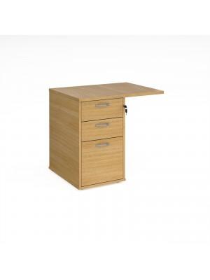 Desk high 3 drawer pedestal 800mm deep with 800mm flyover top - oak