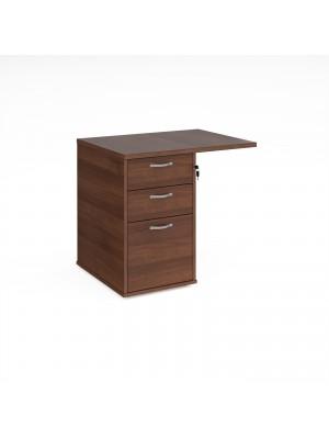 Desk high 3 drawer pedestal 800mm deep with 800mm flyover top - walnut