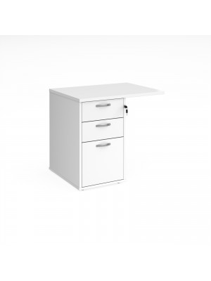 Desk high 3 drawer pedestal 800mm deep with 800mm flyover top - white