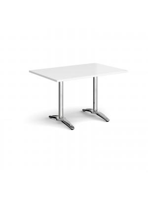 Roma rectangular dining table with 4 leg chrome base 1200mm x 800mm - white