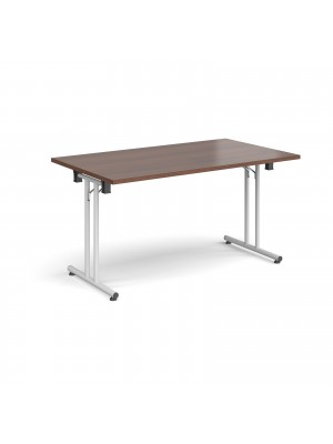 Rectangular folding leg table with white legs and straight foot rails 1400mm x 800mm - walnut