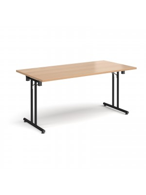Rectangular folding leg table with black legs and straight foot rails 1600mm x 800mm - beech