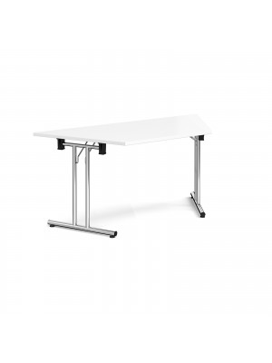 Trapezoidal folding leg table with chrome legs and straight foot rails 1600mm x 800mm - white