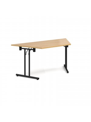 Trapezoidal folding leg table with black legs and straight foot rails 1600mm x 800mm - oak
