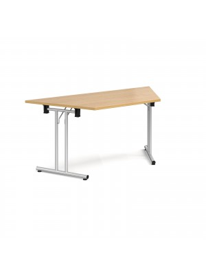Trapezoidal folding leg table with silver legs and straight foot rails 1600mm x 800mm - oak