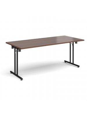 Rectangular folding leg table with black legs and straight foot rails 1800mm x 800mm - walnut
