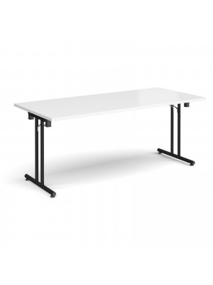 Rectangular folding leg table with black legs and straight foot rails 1800mm x 800mm - white