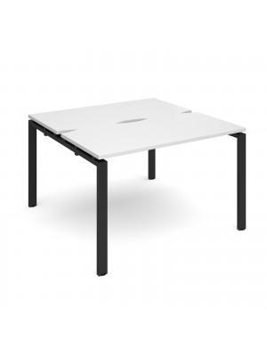 Adapt sliding top back to back desks 1200mm x 1200mm - black frame, white top