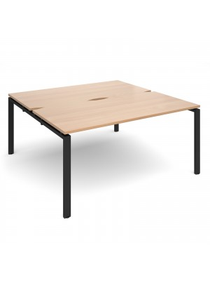 Adapt II sliding top back to back desks 1600mm x 1600mm - black frame, beech top