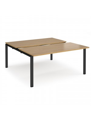 Adapt sliding top back to back desks 1600mm x 1600mm - black frame, oak top