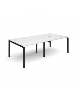 Adapt II sliding top double back to back desks 2400mm x 1200mm - black frame, white top