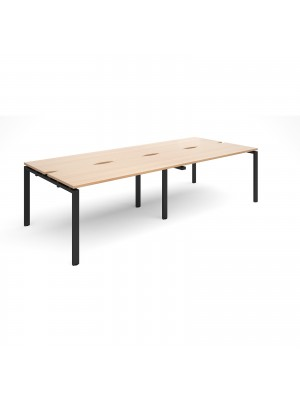 Adapt II sliding top double back to back desks 2800mm x 1200mm - black frame, beech top