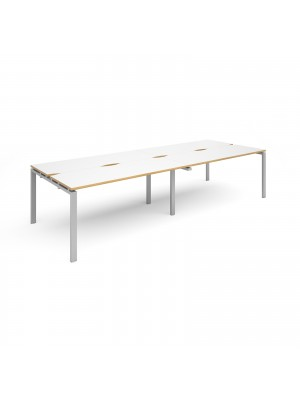 Adapt II sliding top double back to back desks 3200mm x 1200mm - silver frame, white top with oak edging