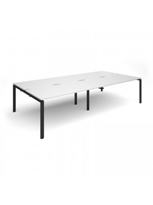 Adapt sliding top double back to back desks 3200mm x 1600mm - black frame, white top