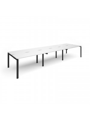 Adapt II sliding top triple back to back desks 4200mm x 1200mm - black frame, white top