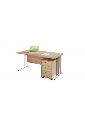 Maestro 25 SL straight desk 1400mm x 800mm with silver cantilever frame and 3 drawer pedestal - Beech