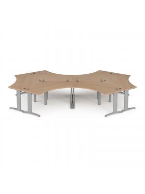 TR10 120 degree six desk cluster 4664mm x 2020mm - silver frame, beech top