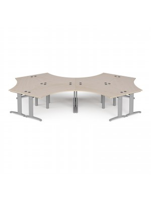 TR10 120 degree six desk cluster 4664mm x 2020mm - silver frame, maple top