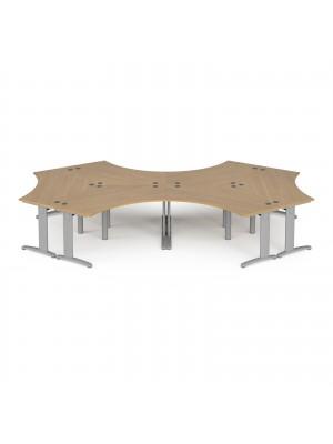 TR10 120 degree six desk cluster 4664mm x 2020mm - silver frame, oak top