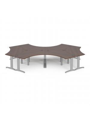 TR10 120 degree six desk cluster 4664mm x 2020mm - silver frame, walnut top