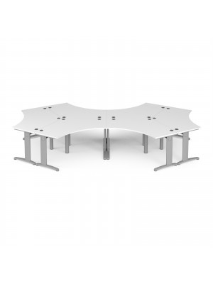 TR10 120 degree six desk cluster 4664mm x 2020mm - silver frame, white top