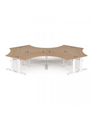 TR10 120 degree six desk cluster 4664mm x 2020mm - white frame, beech top