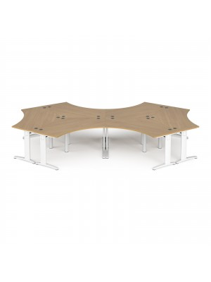 TR10 120 degree six desk cluster 4664mm x 2020mm - white frame, oak top