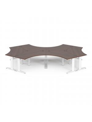TR10 120 degree six desk cluster 4664mm x 2020mm - white frame, walnut top