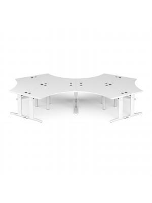 TR10 120 degree six desk cluster 4664mm x 2020mm - white frame, white top