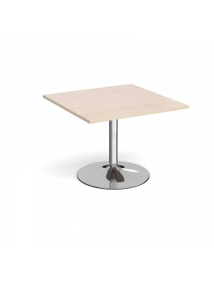 Trumpet base square extension table 1000mm x 1000mm - chrome base, maple top