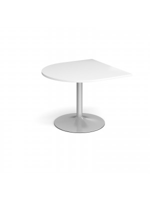 Trumpet base radial extension table 1000mm x 1000mm - silver base, white top